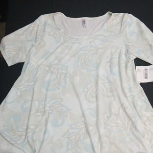 XL LulaRoe Perfect T NWT- Blue and Beige Paisley